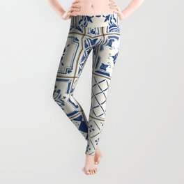 Blue Ceramic Tiles Leggings