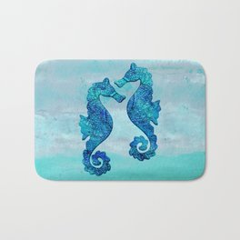 Blue Seahorse Couple Underwater Bath Mat