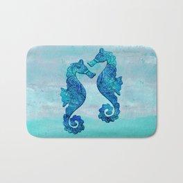 Blue Seahorse Couple Underwater Bath Mat