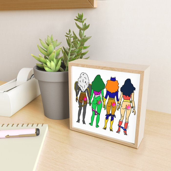 Superhero Butts Love 2 - Team Girls Framed Mini Art Print