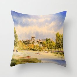 Windsor Castle And River Thames Throw Pillow