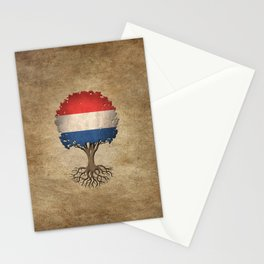 Vintage Tree of Life with Flag of The Netherlands Stationery Cards