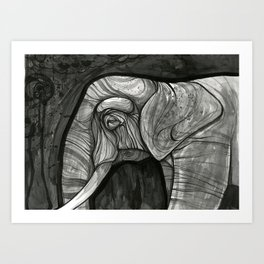 night elephant  Art Print