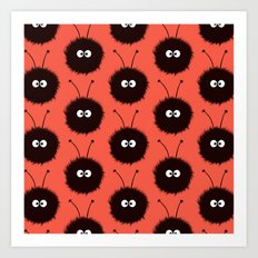 Red Cute Dazzled Bugs Pattern Art Print