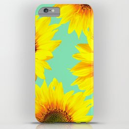 Sunflowers on a pastel green backgrond - #Society6 #buyart iPhone Case