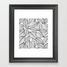 Leaves in black Framed Art Print