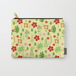 Tropical yellow red green modern floral pattern Carry-All Pouch
