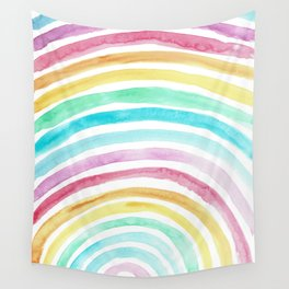 Pastel Watercolour Rainbow art Wall Tapestry