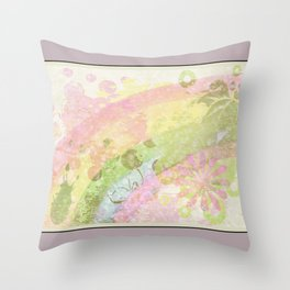 Flower splash watercolor Throw Pillow