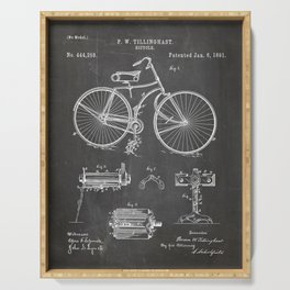 Bicycle Patent - Cyclling Art - Black Chalkboard Serving Tray