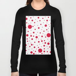 Mixed Polka Dots - Crimson Red on White Long Sleeve T-shirt