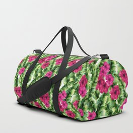 green banana palm leaves and pink flowers Duffle Bag