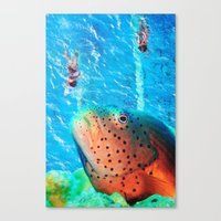 swim Canvas Prints featuring Swim by John Turck