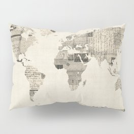 Map of the World Map from Old Postcards Pillow Sham