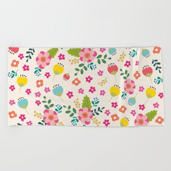 Cute Pastel Spring Flower Pattern Beach Towel