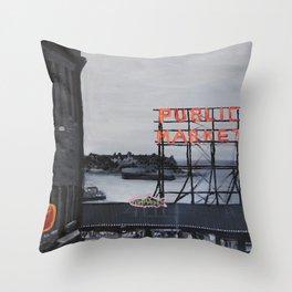 Pike Place Market - Black & White & Neon -Seattle Washginton Throw Pillow