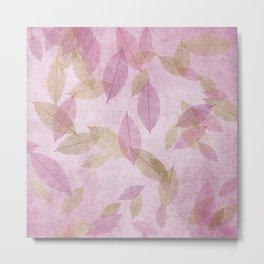 Pink Purple Leaves Metal Print