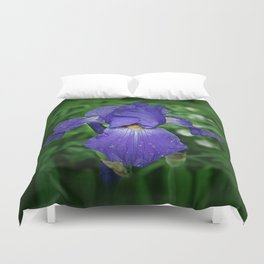 Cool blue-violet Iris 'Sea Master' Duvet Cover