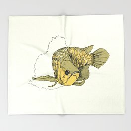 Gold Arowana Throw Blanket