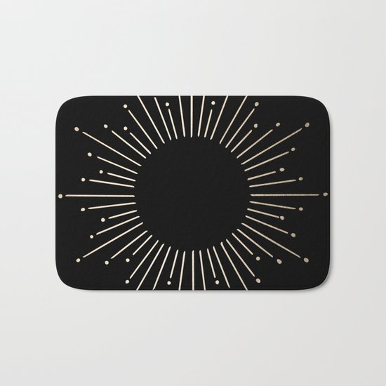 Sunburst White Gold Sands on Black Bath Mat