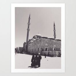 Istanbul mosque photo, black & white fine art, Turkey photography, Middle East Art Print
