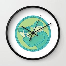 Policeman Speed Radar Gun Circle Mono Line Wall Clock