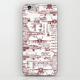 F-18 Blueprints // Red Ink iPhone Skin