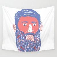 beard Wall Tapestries featuring Flowers in Beard by David Penela