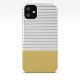 Minimal Gray Stripes - yellow iPhone Case