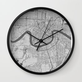 New Orleans Pencil City Map Wall Clock