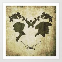 silhouette Art Prints featuring silhouette by Camille