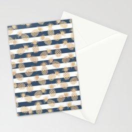 Nautical modern navy blue white stripes blush beige pineapple Stationery Cards