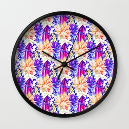 Hand painted orange purple navy blue watercolor cactus floral Wall Clock