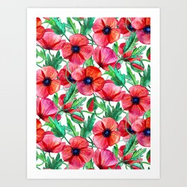 Plenty of Poppies - white Art Print