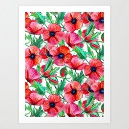 Plenty of Poppies - white Art Print