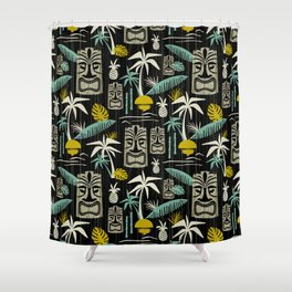 Island Tiki - Black Shower Curtain
