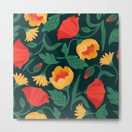 cute  Yellow and red flowers Metal Print