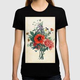 Botanical Print Poppy Peony Foxglove Clemantis T-shirt