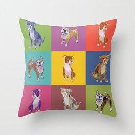 Colorful Pitbulls Throw Pillow