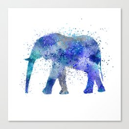 Blue Watercolor Elephant Canvas Print