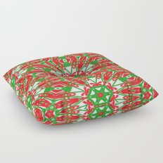 Red, Green and White Kaleidoscope 3376 Floor Pillow