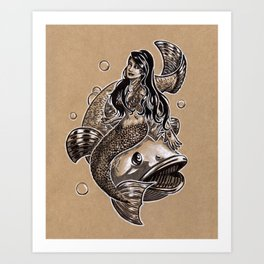 Mermaid Sea Bass Art Print