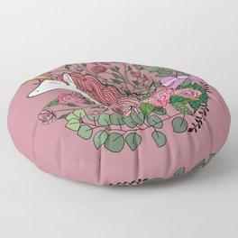 Unicorn in a Pink Rose Garden Floor Pillow