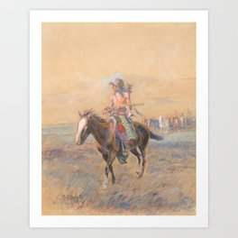 CHARLES M. RUSSELL (1864-1926) Cavalry Mounts for the Braves (circa 1915) Art Print