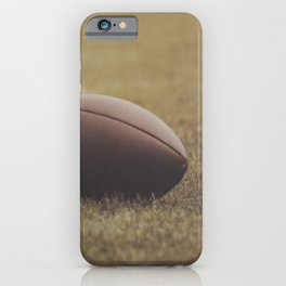Football Resting in Grassy Turf Aged Effect iPhone Case