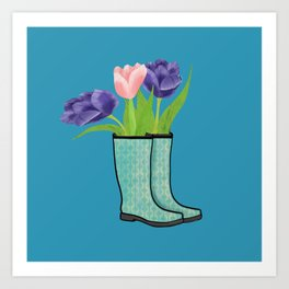 Rain Boots and Purple Tulips With Water Droplet/ Spring Decor Art Print