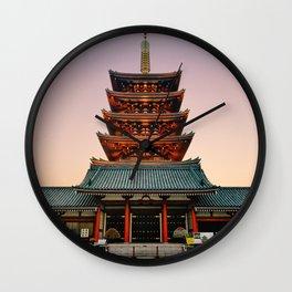 Five-Storied Pagoda at Sensoji Temple Fine Art Print Wall Clock