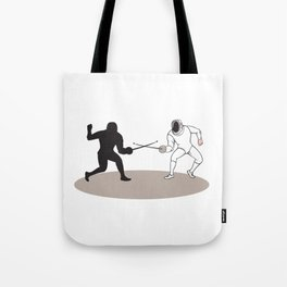 Swordsmen Fencing Isolated Cartoon Tote Bag