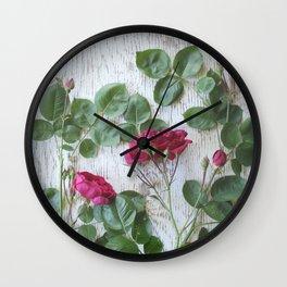 Vintage Red Rose Wall Clock