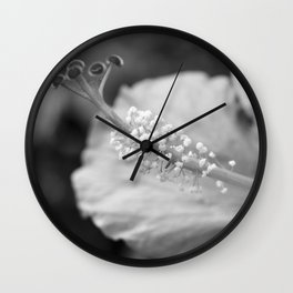 Hybiscus in Black and White Wall Clock